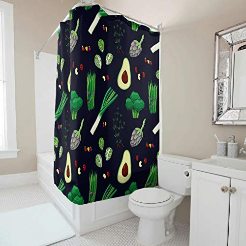 Sweet Luck Avocado Obst Gemüse Duschvorhang Anti-Schimmel Wasserdicht Waschbar Stoff Vorhang Polyester Textil Shower Curtain mit Ringe für Badezimmer