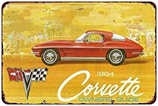 DYTrade Metal Sign- 1964 Chevy Corvette Sales Owners Guide Reproduction 8 x 12 Inches