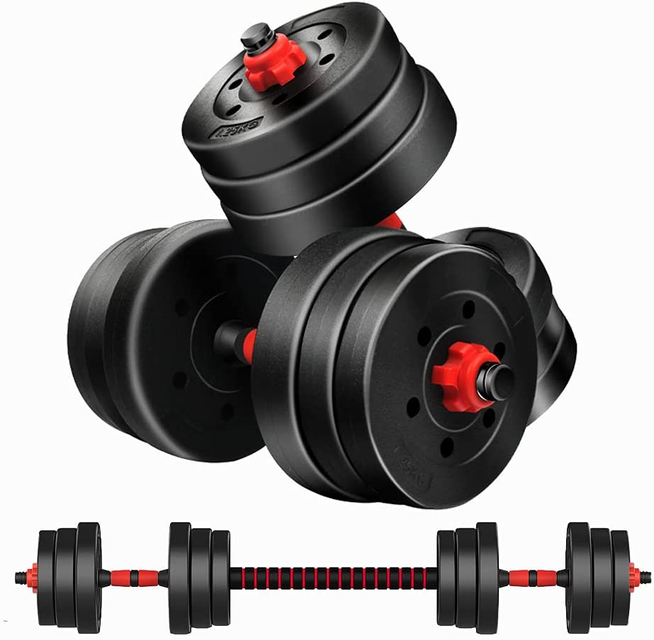 Oftoto Adjustable Up to 44lbs Dumbbell & Barbell Set  $38.99 Coupon