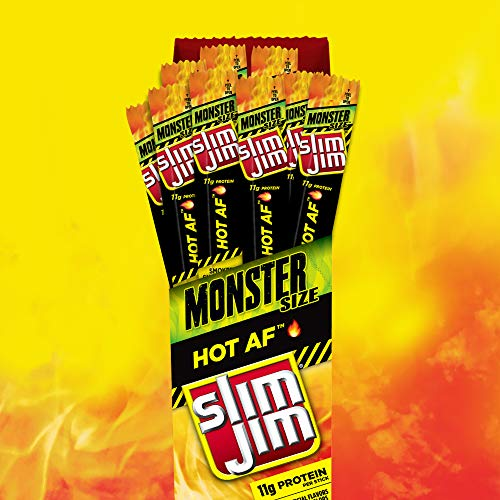 Slim Jim Monster Smoked Meat Snack Stick, Hot AF Flavor, Packed with Protein, 1.94-oz. Stick 18-Count