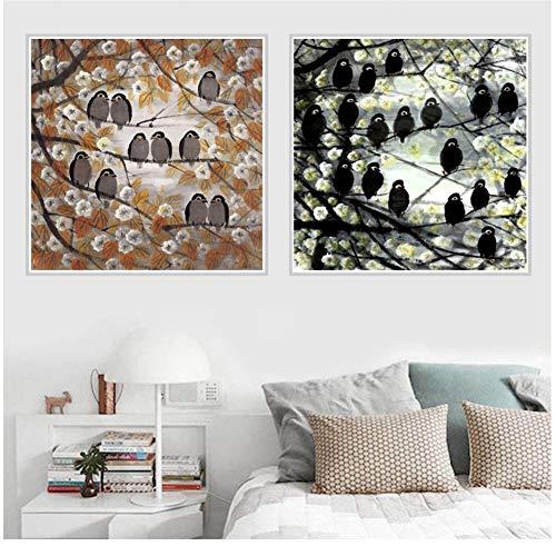 Ekster uilen vogel canvas poster wandkleden foto Home Art Decor-40x40x2Pcscm geen Frame