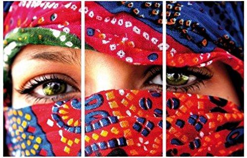 1art1 Frauen - Arabische Augen, 3-Teilig Bilder Leinwand-Bild Auf Keilrahmen   XXL-Wandbild Poster Kunstdruck Als Leinwandbild 120 x 80 cm