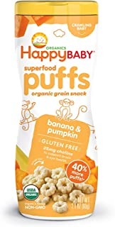 Happy Baby Organic Superfood Puffs Banana & Pumpkin, 2.1 Ounce Canister, Pack of 6 (Packaging May Vary)