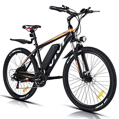"""VIVI Bicicletta Elettrica 350W Bici Elettriche, Bici Elettrica per Adulti, Mountain Bike Elettrica 26"""", Batteria da 10.4Ah, Velocità di 32 km/h, 3 Modalità di Lavoro (Giallo)"""