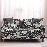 Fundas Sofas 3 y 2 Plazas Ajustables Niña Unicornio Negro Fundas para Sofa Spandex Cubre Sofa Estampadas Fundas Sofa Elasticas Universal Verano Modernas Fundas para Sofa Chaise Longue
