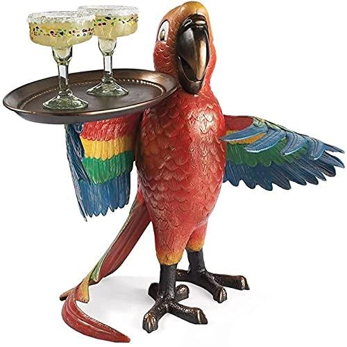 Bandeja de Tabla de Picnic con Estatua de Loro | Bandeja para Servir Bebidas | Decoración Artesanal de Resina | Esculturas de Mesa para Interiores | Bandeja para Vino, Refrigerios(Color:,Size:A)
