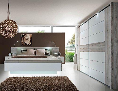 lifestyle4living Schlafzimmer in Sandeiche-NB mit Abs. in Weiss Hochglanz, Bett mit Nachtkommoden, Liegefläche: 180 x 200 cm, B: 285 cm, Schwebetürenschrank B: 269 cm