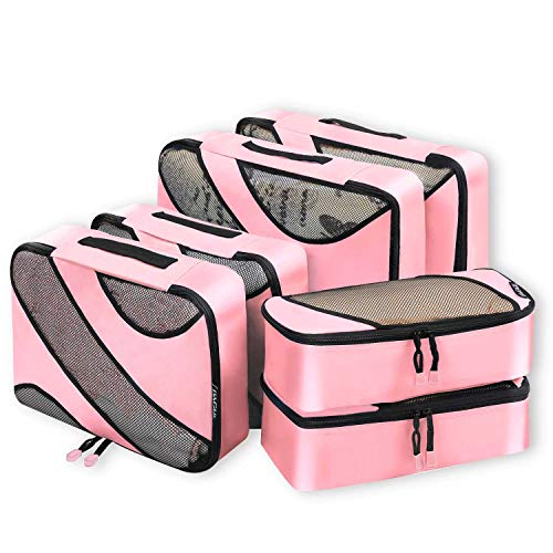 Bagail 6 Set Packing Cubes,3 Various Sizes Travel Luggage Packing Organizers(Dusty Pink)