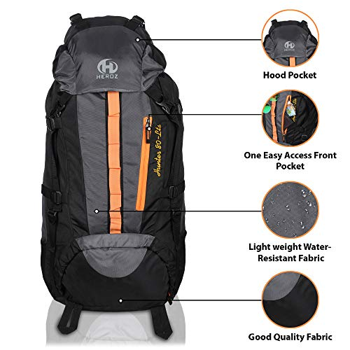 HEROZ Hunter 80 ltrs Trackign Laptop Bags Mountaineering Hiking Bag with Rain Cover Mount Track Travel Backpacks Rucksack - (Black and Grey)
