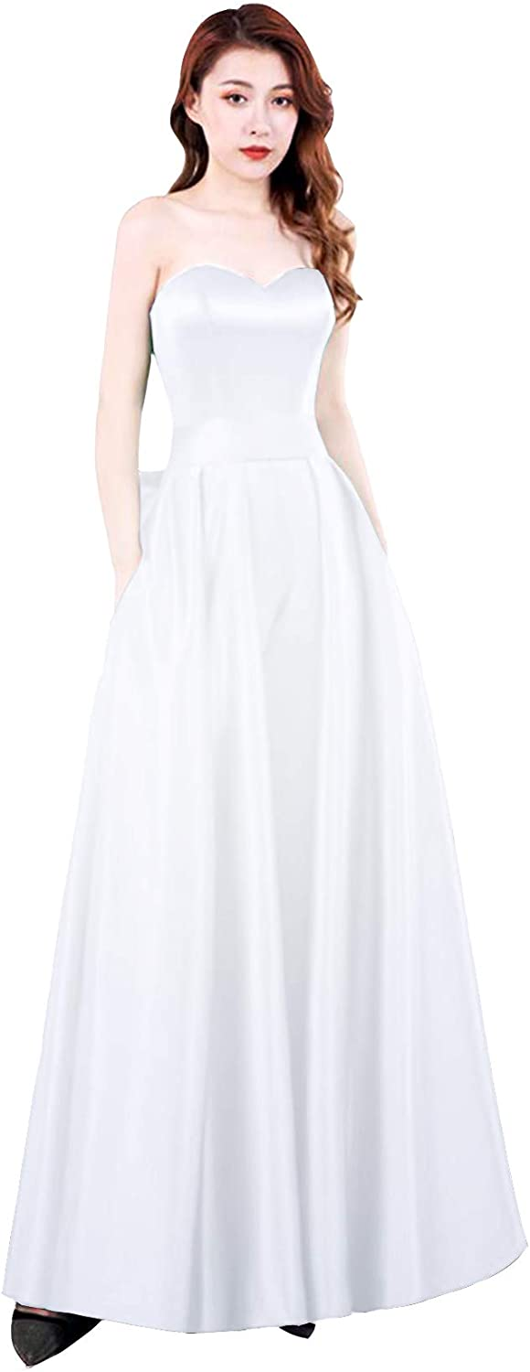 Yukale Women's Strapless Jumpsuits Evening Dress with Detachable Skirt Prom Gowns Pants