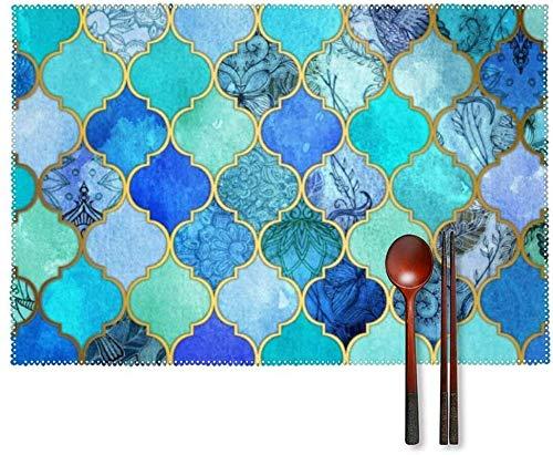 Manteles individuales para restaurantes – Juego de 4 manteles individuales fáciles de limpiar, diseño de azulejos marroquíes azul cobalto resistente para uso interior o exterior