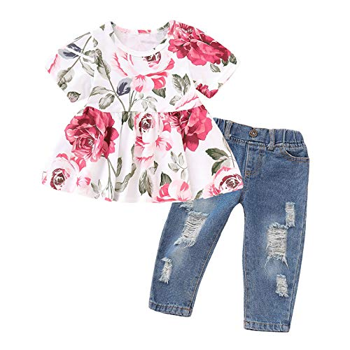 Haokaini Baby Mädchen Sommerkleidung Kurzarm Blumenhemd Zerrissene Hose Hosen Outfit für Kleinkind Mädchen