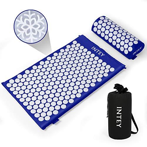 INTEY Esterilla Acupresion Kit de Masaje Para De Espalda y Cuello Dolor Ciático,Insomnio,Acupresion Acupuntura y Moxibustión Yoga(Azul y Blanco)