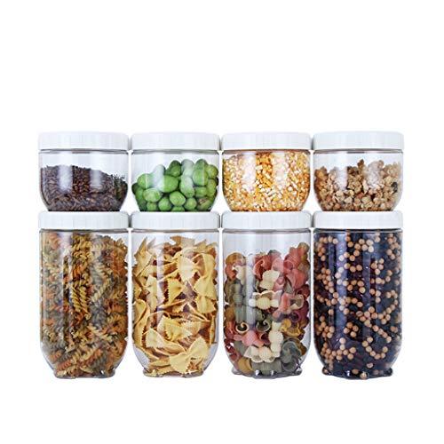 liangzishop Botes Especias Recipientes de Almacenamiento de Granos y Alimentos Secos Latas Selladas Transparentes (8 Paquetes) Tarro de Especias