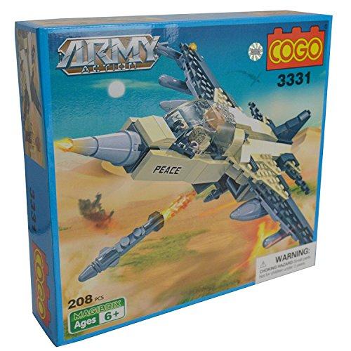 COGO - Conjunto de juguetes para construcción de ladrillos del ejército militar de guerra con base de caza, 208 piezas