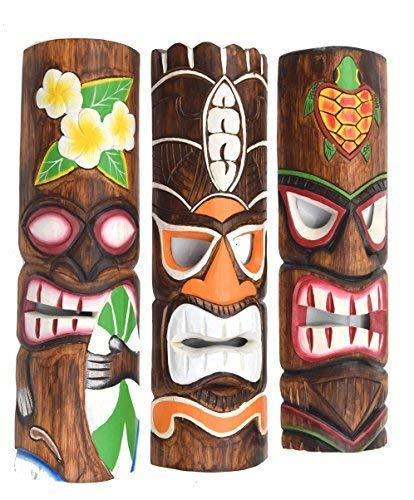 Interlifestyle 3 Tiki Máscara Pared 50cm Im Hawai Estilo Juego de 3 con Flores Tortuga Motivo Máscara de Madera Maui Máscara de Pared Mares Del Sur Máscara el Caribe