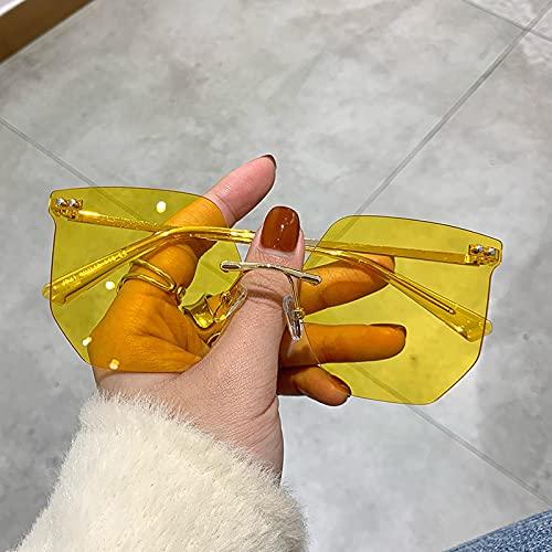 Gafas De Sol Gafas De Sol Sin Montura Gafas De Sol De Gran Tamaño Recortadas para Mujer Gafas Transparentes para Hombre Irregular Rosa Amarillo Espejo Aspicture