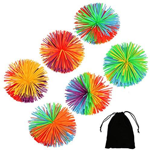 YANSHON 6 Stück Stringy Bälle, Bunte Silikon Koosh Ball Mehrfarbig sensorische Stringy Balls Spielzeug springenden Flauschigen Stress Balls jugging Ball