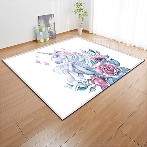 Heeboode Alfombras geométricas Modernas del Arte Abstracto Unicornio Rosa Patrón alfombras Balcón Cocina Sala de Estar Dormitorio casa Lavable Antideslizante alfombras -80x160cm