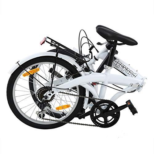 MuGuang Faltbares Fahrrad 20 Zoll 7 Gang Faltmaschine mit LED-Batterielampe der Hinteren Halterung Folding Bike (White) - 2
