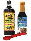 Soy Seasoning Variety Pack: Bragg Organic Liquid Aminos 32 oz + Coconut Secret Coconut Liquid Aminos, 8 Oz; With Bonus Measuring Spoon