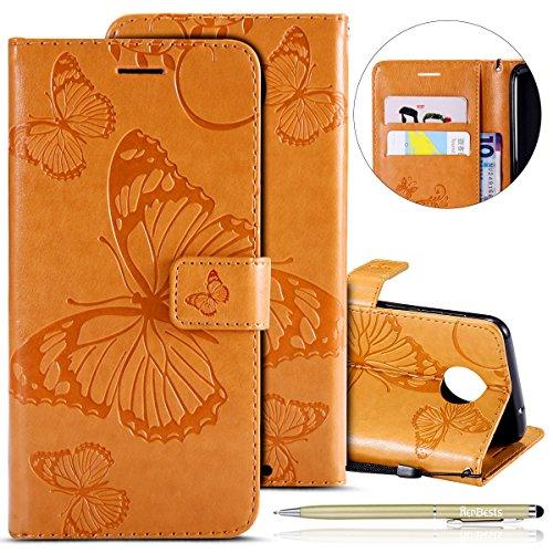 Herbests Kompatibel mit Leder Handy Schutzhülle Motorola Moto Z2 Force Lederhülle Schmetterling Muster Leder Handyhülle Handytasche Brieftasche Ledertasche Bookstyle Flip Case Cover Klapphülle,Gelb