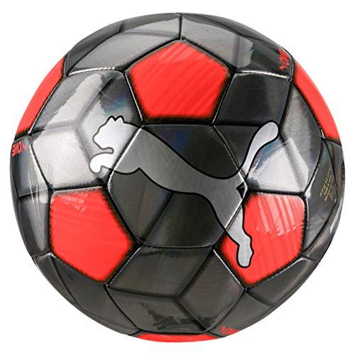 PUMA One Strap Ball Balón de Fútbol, Adultos Unisex, Silver-Nrgy Red Black, 5