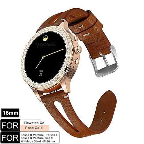 YOOSIDE für Fossil Q Venture Leder Armband,18mm Quick Release echtes Leder mit klassischem Verschluss-Uhrenarmband für Fossil Damen Venture, Withings Steel HR 36mm (Braun)
