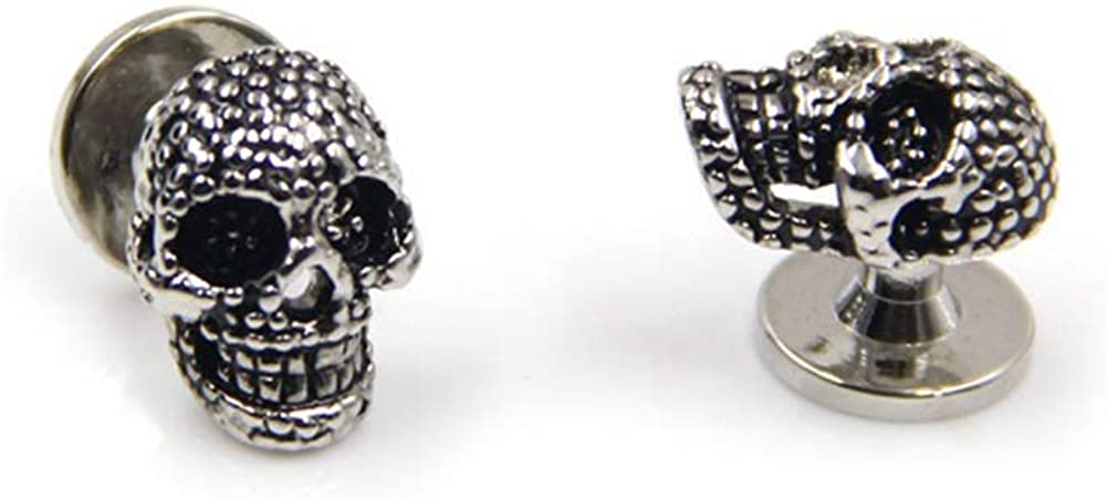 Black Skull Cufflinks and Dress Shirt Studs Set for Tuxedo Party Gift Accessories