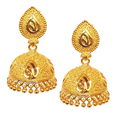 Pahal - Pendientes tradicionales de estilo jhumka chapados en oro para mujer (diseño 1)