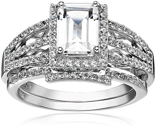 Sterling Silver Created White Sapphire Emerald Cut Halo Engagement Ring Set, Size 7