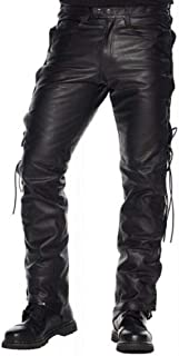 Mens Real Black Leather Pants Motorbike Trouser Biker Breeches Laces Jeans for Men