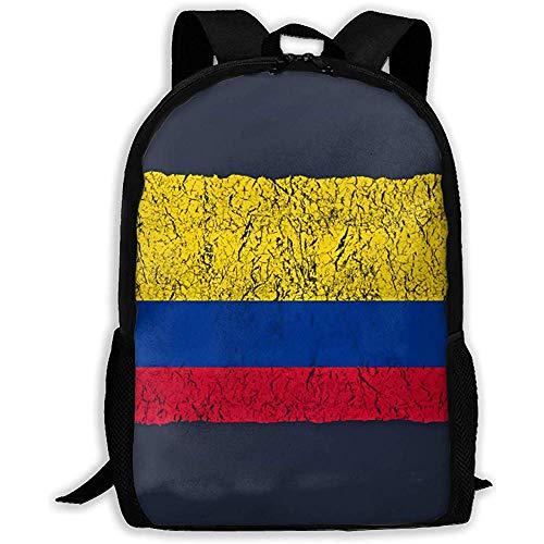 Backpack Vintage Bandera Colombiana Mochila para Adolescentes Negra Mochila De Viaje Informal Mochila para Niñas Escolares