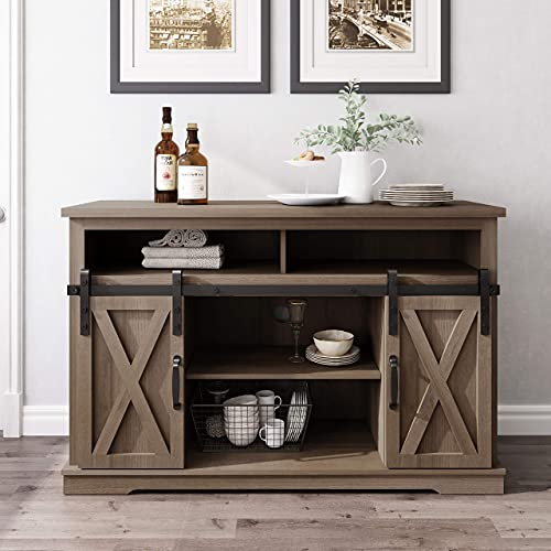 WLIVE Entertainment Center for 60 inch TV , Universal TV Stand for 55 inch TV with Sliding Barn Door, TV Console Table with Storage Cabinet, Rustic Gray