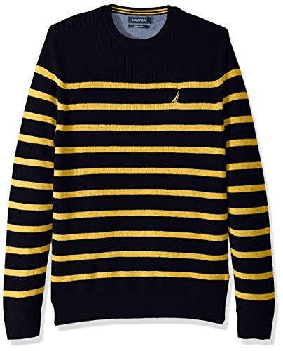 Nautica Men's Long Sleeve Striped Crew Neck Sweater, Mustard Field, X-Large