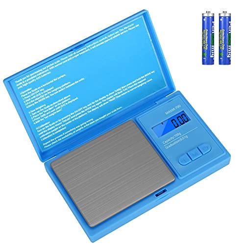 Aurora & Tithonus 02 Précision avec Écran LCD, Balance de Cuisine 700g / 0.01g avec 7 Unités, pour Peser des Cosmétique, des Bijoux (Blue)