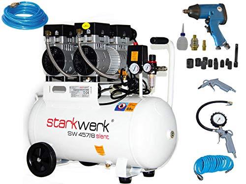 Starkwerk Silent Druckluft Kompressor SW 457/8 Ölfrei 50L Kessel SET