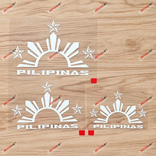 Pilipinas Tribal Three Stars Half Sun Philippines Filipino Tagalog Decal Vinyl Sticker - 3 Pack White, 4 Inches, 5 Inches, 6 Inches - Die Cut No Background for Car Boat