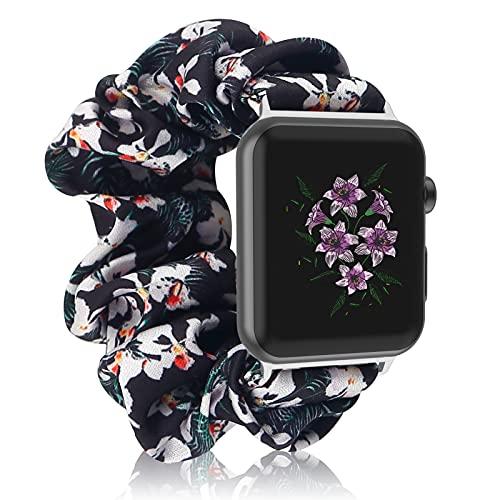 Compatible con Bandas de Reloj de Apple 38 mm 40 mm 42 mm 44 mm,Correa Scrunchie Correa de Reloj Elástica para Mujeres y Niñas Correa de Pulsera de Tela Estampada para Apple iWatch Series 6 5 4 3 2 1