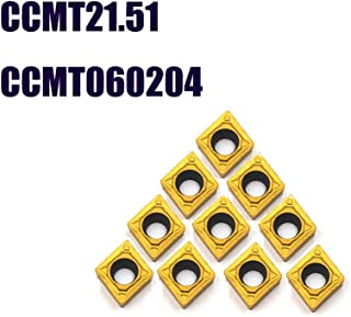 OSCARBIDE Carbide Turning Inserts CCMT21.51(CCMT060204) CCMT Insert Mutilayer Coated CNC Lathe Inserts for Lathe Turning Tool Holder Replacement Insert, 10 Pieces