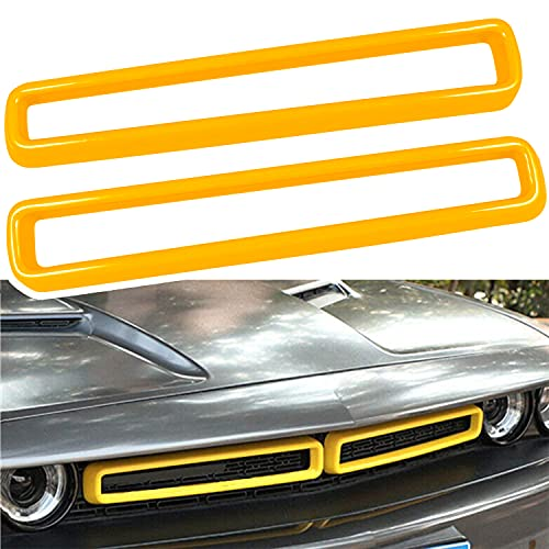 Bonbo Front Grille Inserts Trim Cover ABS Exterior Accessories Decoration Trim Cover for 2015-2021 Dodge Challenger (Yellow)