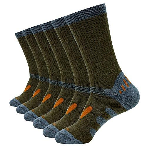 Enerwear Men's 6 Pack Wool Outdoor Hiking Work Boot Crew Socks & Athletic Socks (10-13/Shoe: 6-12, Coffee)
