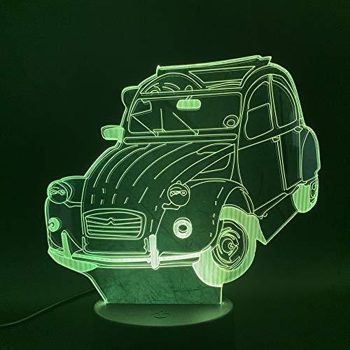 Nur 1 Stück 3d Illusion Älteres Retro Auto führte Nachtlicht Geschenk für Wohnzimmer Schlafzimmer dekorative 7 Farbe wechselndes Nachtlicht