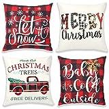 vamei 4 Pack Housse de Coussin de Noël 45 x 45cm Housse de Coussin pour la Maison oreillers décoratifs pour Housses d'oreiller décoratives canapé Housses de Coussin de noël pour canapé-lit (A)