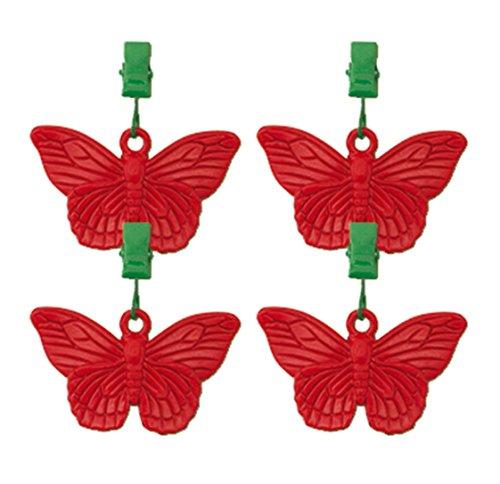 friedola 65501 - Set di 4 Pesi per tovaglia, a Forma di Farfalla, Colore Rosso/Verde