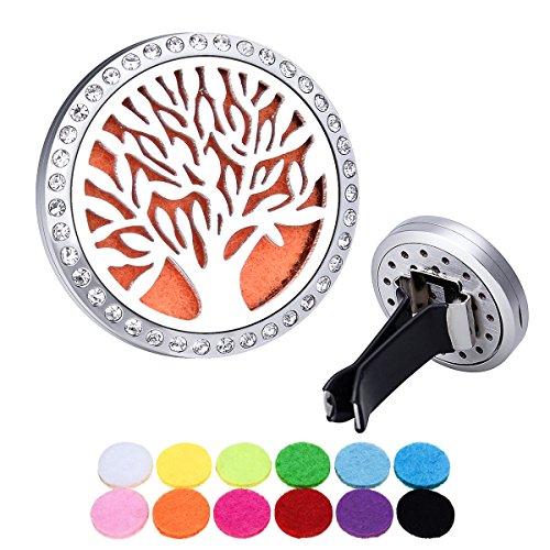 Aromathérapie Diffuseur Huile Essentielle Car Clip/ Acier Inoxydable/ Clear Diamond/ Arbre de Vie/ Ouverture Verrouillage Magnétique Clip Voiture 30mm