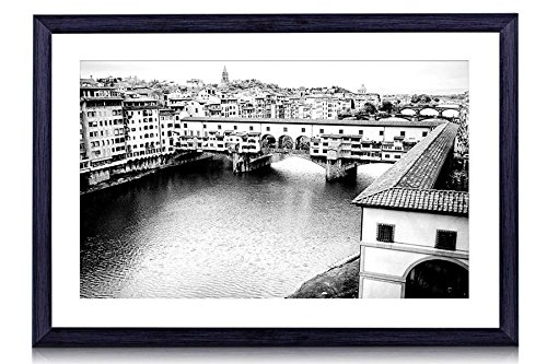 """GLITZFAS Ponte Vecchio Bridge in Florence, Italy - Art Print Black Wood Framed Wall Art Picture for Home Decoration - Black and White - 16""""x12"""" (40cmx30cm) - Framed"""