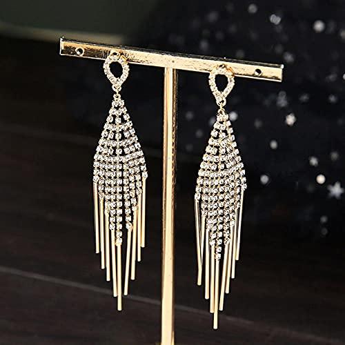 Pendientes De Novia Pendientes De Borla De Oro Pendientes Accesorios De Vestido De Novia De Diamantes De Imitación