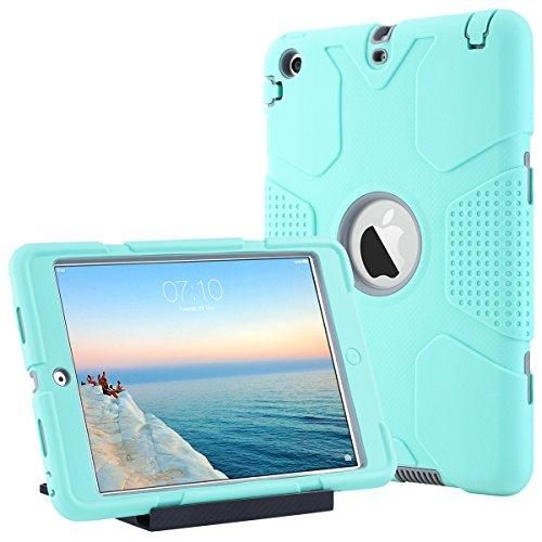 ULAK Funda iPad Mini 1/2/3, Híbrido 3 in 1 Cases de la Cubierta a Prueba de Golpes Carcasa con Soporte Función para el iPad Mini/iPad Mini 2 / iPad Mini 3 - Menta