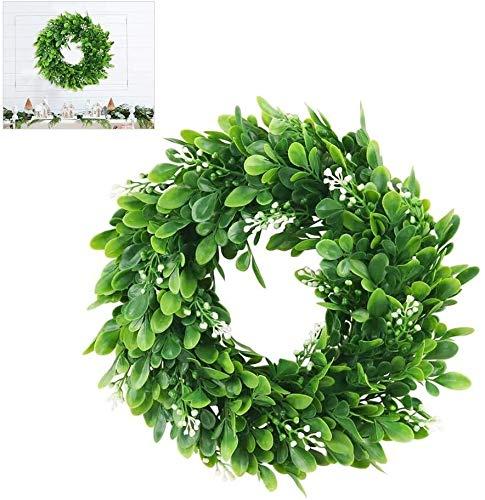 HKD Decorativi bosso corone Anelli, Tavolo Verde Decorazione plastica di Nozze Comunione Cresima Dekokranz Tabella Corona Libro Verde Cerimonia Corona (Color : Green, Size : 30CM)